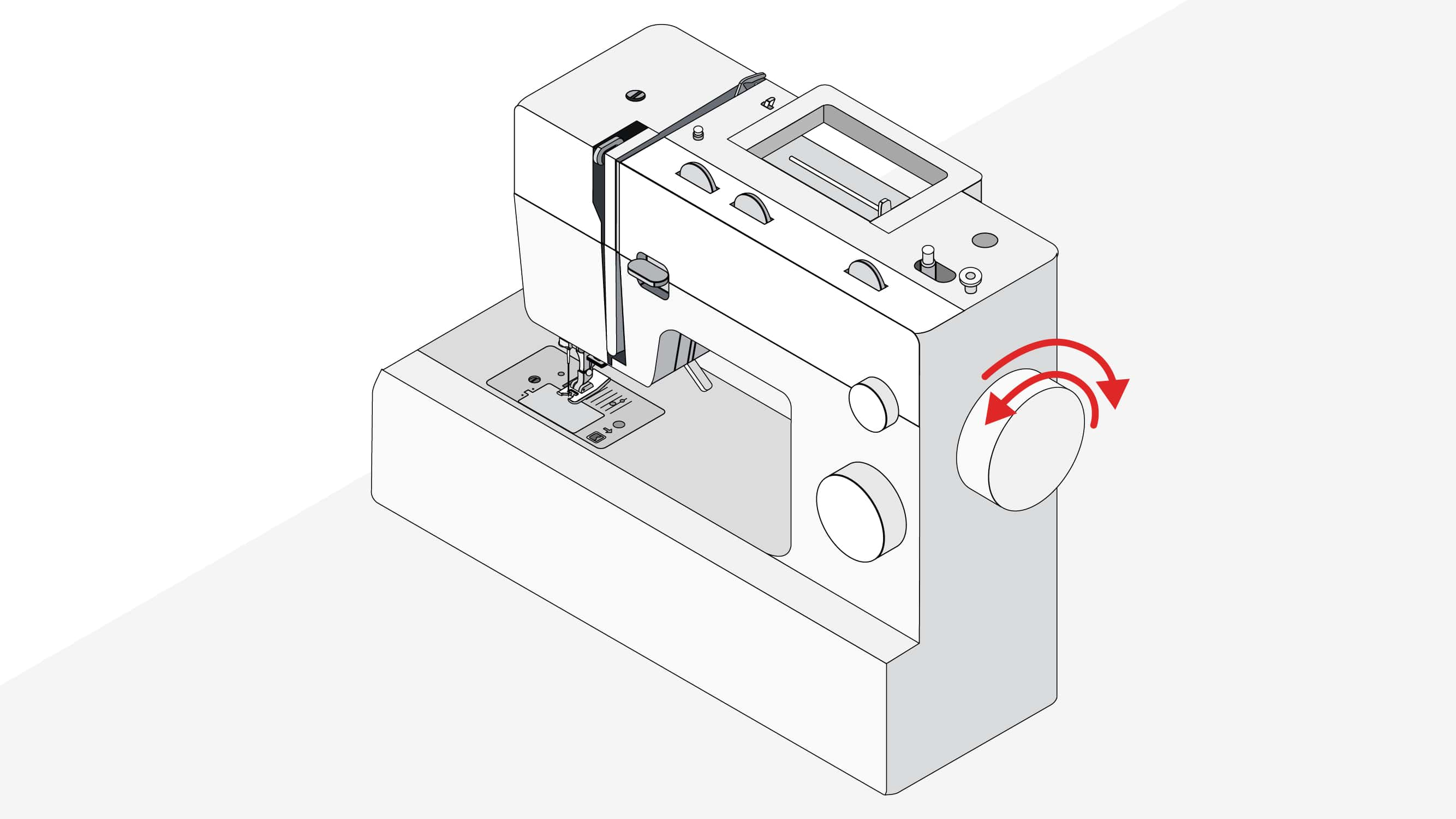 Turn handwheel backwards and then forwards to remove the thread| what to do when sewing machine is jammed | Sewing tutorial © Singer® Hong Kong