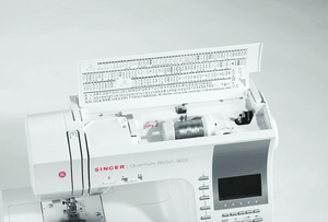 Lid of Quantum Stylist™ 9960 sewing machine showing stitch options. Quantum Stylist™ 9960 衣車蓋上顯示的線跡模樣