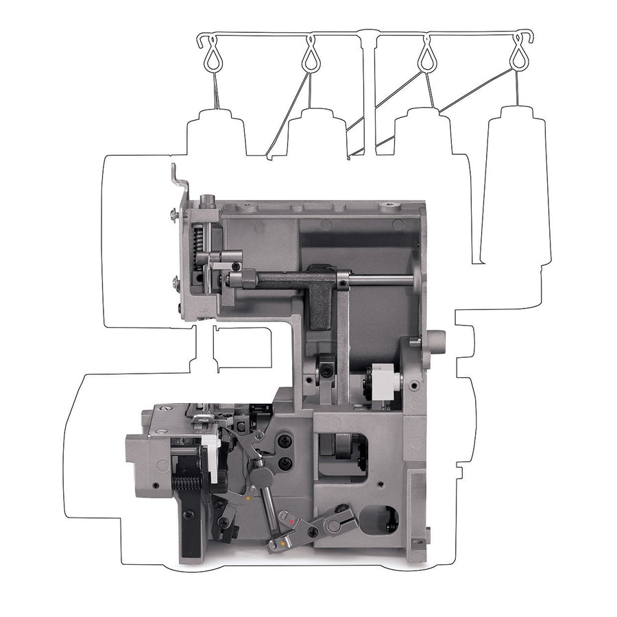 Heavy duty metal frame of Heavy Duty™ 14HD854 overlocker. Heavy Duty™ 14HD854 鈒骨機的重金屬機架