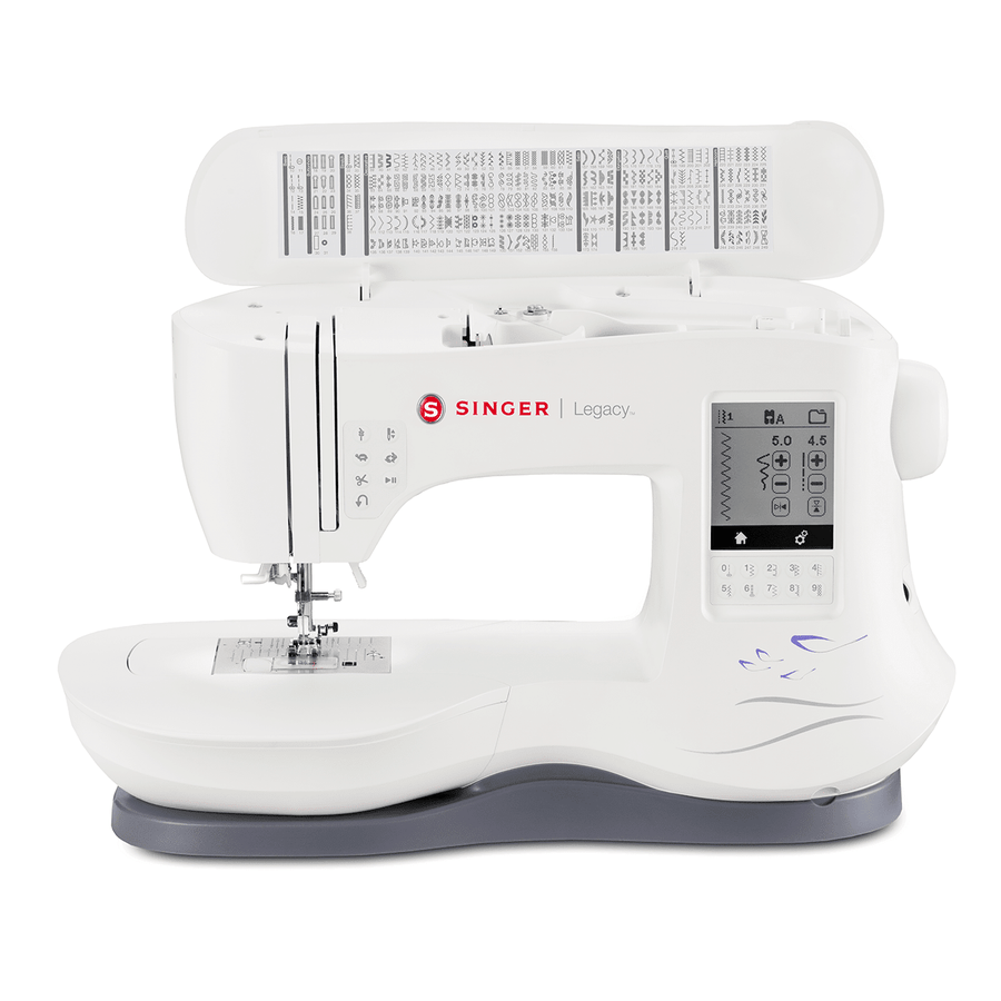 Lid of Legacy™ SE300 sewing and embroidery machine showing stitch options. LEGACY™ SE300 縫紉及繡花機及其線跡模樣