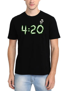 420 Smoke Men's Black Round Neck T-Shirt - Crazy Punch