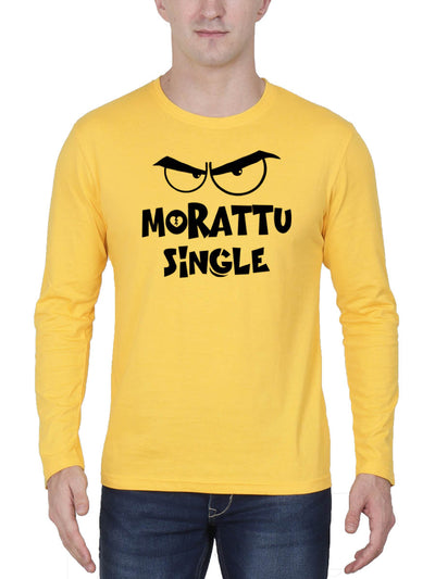 Morattu Single Men's Yellow Full Sleeve Tamil Round Neck T-Shirt