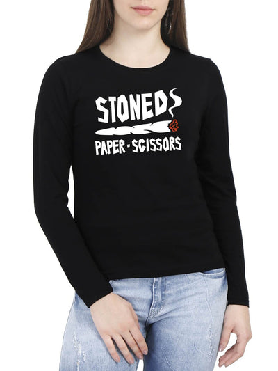 Stoned Paper Scissors Women's Black Full Sleeve Round Neck T-Shirt