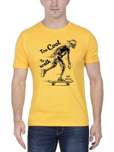 Too Cool To Walk Keep On Rollin' Men's Yellow Round Neck T-Shirt