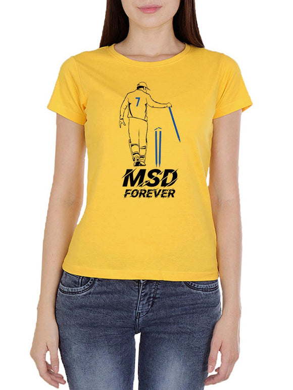 MSD Forever Women's Yellow Half Sleeve Round Neck T-Shirt