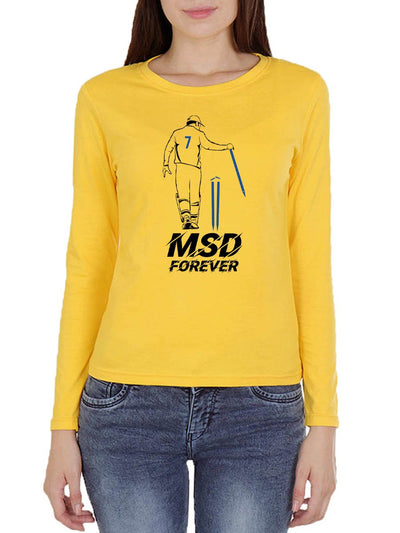 MSD Forever Women's Yellow Full Sleeve Round Neck T-Shirt