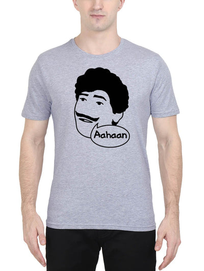Aahaan Men's Grey Melange Tamil Movie Round Neck T-Shirt - Crazy Punch