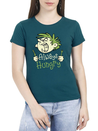 Always Hungry Women's Petrol Round Neck T-Shirt - Crazy Punch