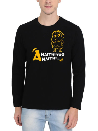 Amaithiyoo Amaithi - Shinchan Men's Black Full Sleeve Tamil Round Neck T-Shirt - Crazy Punch