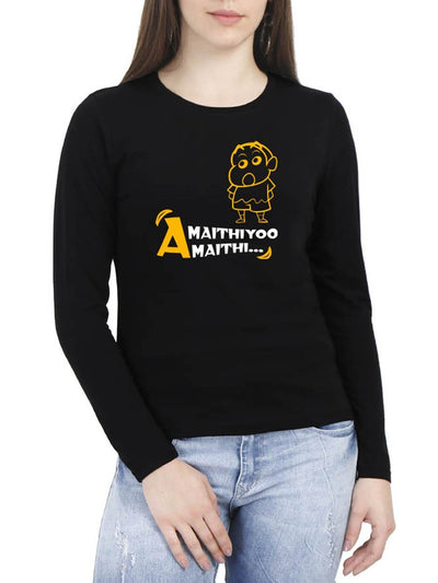 Amaithiyoo Amaithi - Shinchan Women's Black Full Sleeve Tamil Round Neck T-Shirt - Crazy Punch