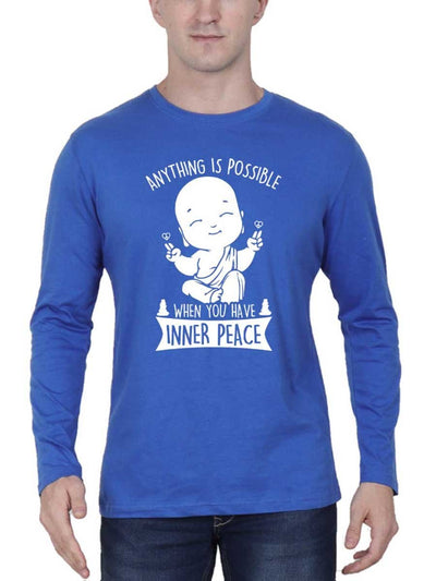 Anything Is Possible When You Have Inner Peace Men's Royal Blue Full Sleeve Round Neck T-Shirt - Crazy Punch