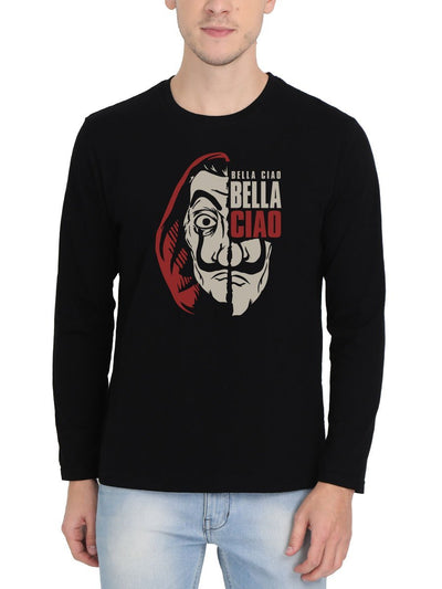 Bella Ciao El Professor Money Heist Men's Black Full Sleeve Round Neck T-Shirt - Crazy Punch