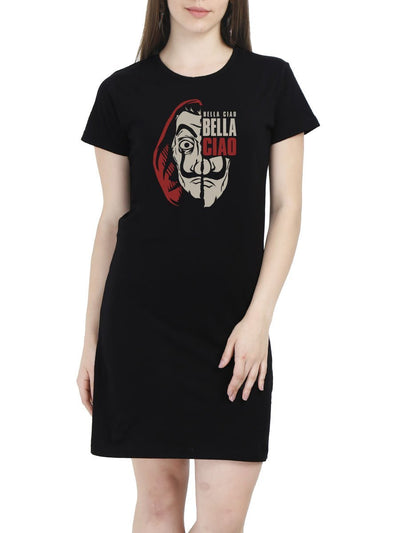 Bella Ciao El Professor Money Heist Women's Black Half Sleeve T-Shirt Dress - Crazy Punch