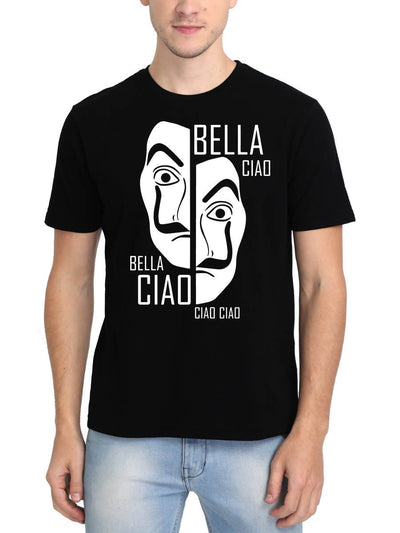 Bella Ciao Money Heist Mask Men's Black Round Neck T-Shirt - Crazy Punch