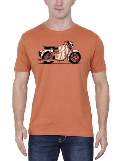 Bike Lover Men's Saffron Half Sleeve Round Neck T-Shirt - Crazy Punch