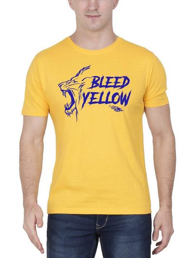 Bleed Yellow CSK Men's Yellow Half Sleeve Round Neck T-Shirt - Crazy Punch