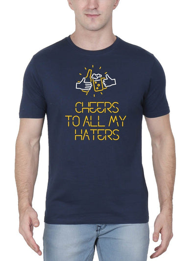 Cheers To All My Haters Stoner Men's Navy Blue Round Neck T-Shirt - Crazy Punch
