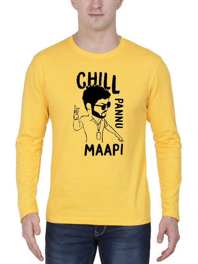 Chill Pannu Maapi Thalapathy Vijay Master Men's Yellow Full Sleeve Tamil Movie Song Round Neck T-Shirt - Crazy Punch