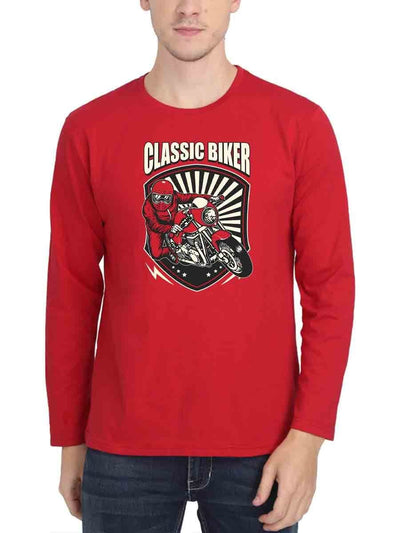 Classic Biker Men's Red Full Sleeve Round Neck T-Shirt - Crazy Punch