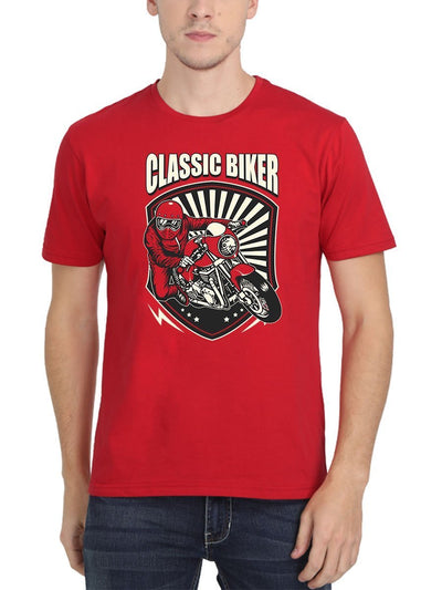 Classic Biker Men's Red Round Neck T-Shirt - Crazy Punch