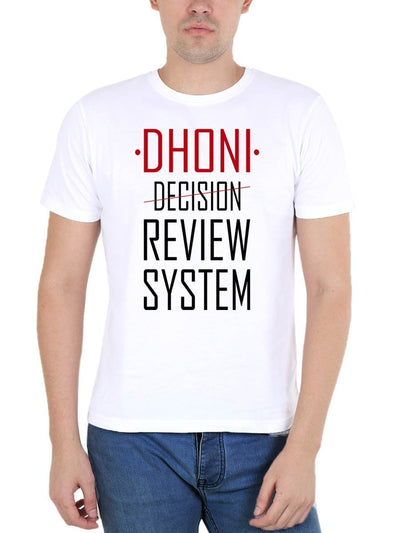 Dhoni Review System (DRS) Men's White Half Sleeve Round Neck T-Shirt - Crazy Punch