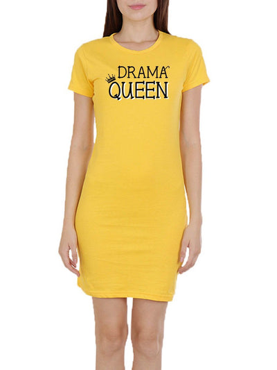 Drama Queen Women's Yellow Half Sleeve T-Shirt Dress - Crazy Punch