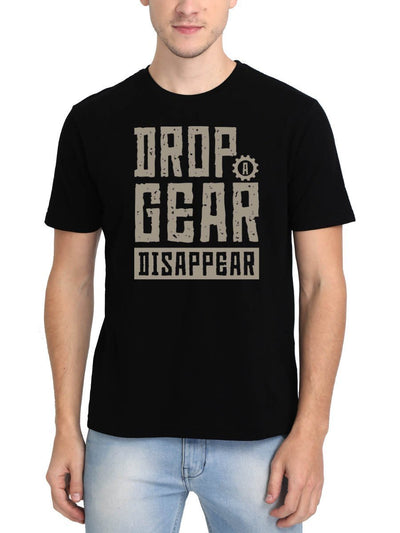 Drop A Gear Disappear Men's Black Round Neck T-Shirt - Crazy Punch