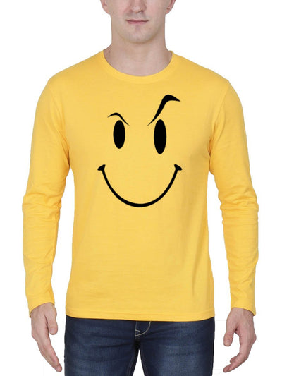 Eyebrow Raised Emoji Men's Yellow Full Sleeve Round Neck T-Shirt - Crazy Punch