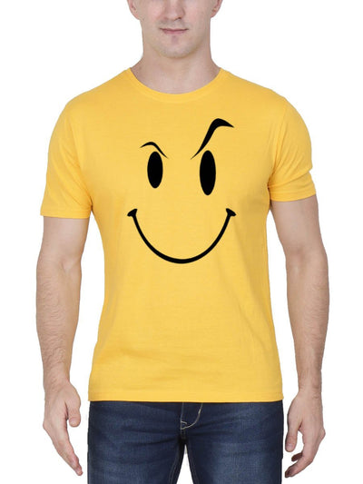 Eyebrow Raised Emoji Men's Yellow Half Sleeve Round Neck T-Shirt - Crazy Punch