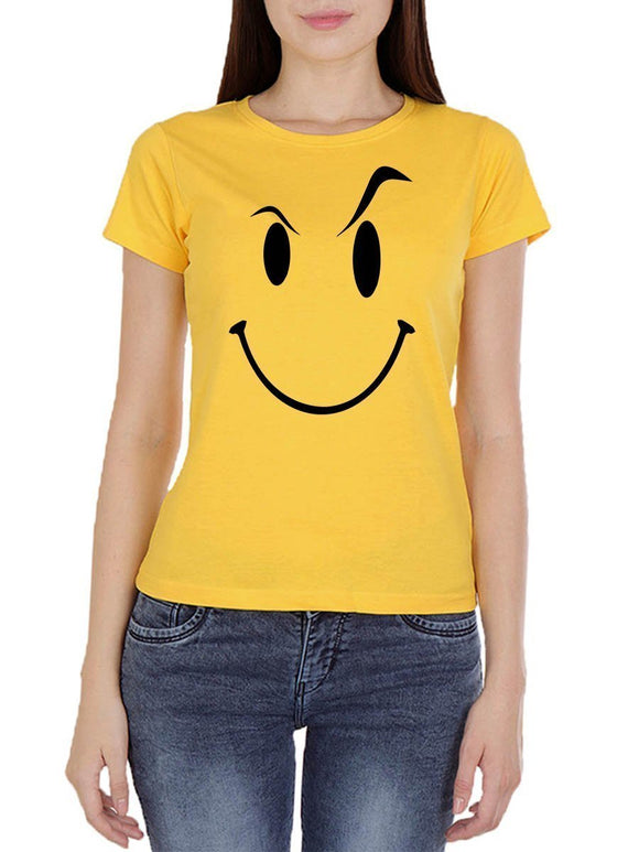 Eyebrow Raised Emoji Women's Yellow Round Neck T-Shirt - Crazy Punch
