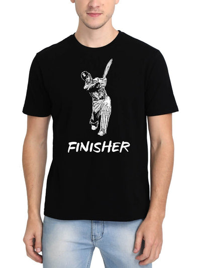 Finisher Dhoni Style Men's Black Round Neck T-Shirt - Crazy Punch