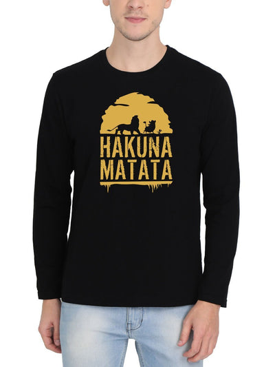 Hakuna Matata - The Lion King Men's Black Full Sleeve Round Neck T-Shirt - Crazy Punch