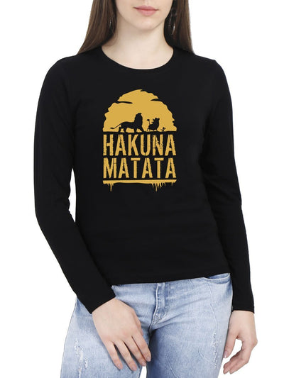 Hakuna Matata - The Lion King Women's Black Full Sleeve Round Neck T-Shirt - Crazy Punch