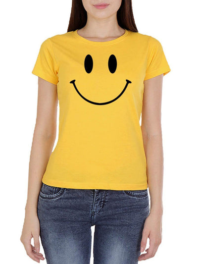 Happy Smiley Women's Yellow Half Sleeve Round Neck T-Shirt - Crazy Punch