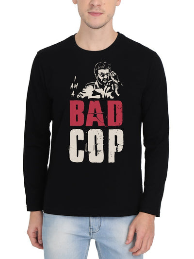 I Am A Bad Cop Thalaivar Superstar Rajinikanth Men's Black Full Sleeve Tamil Movie Round Neck T-Shirt