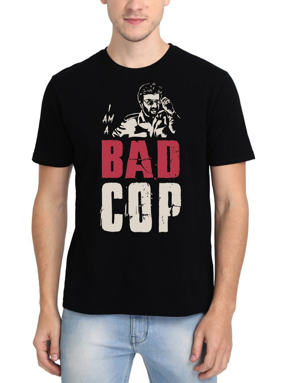I Am A Bad Cop Thalaivar Superstar Rajinikanth Men's Black Tamil Movie Round Neck T-Shirt - Crazy Punch