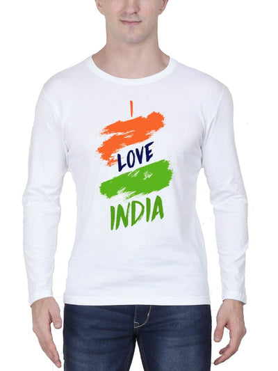 I Love India Men's White Full Sleeve Round Neck T-Shirt - Crazy Punch