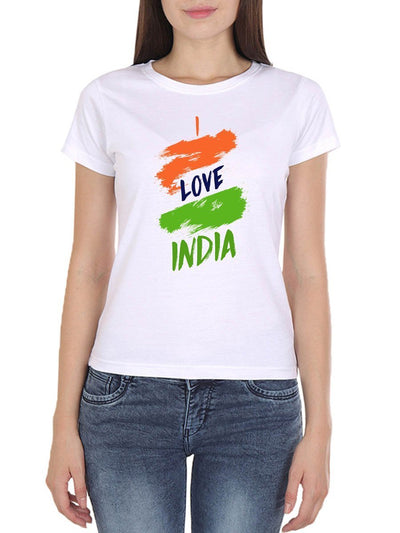 I Love India Women's White Round Neck T-Shirt - Crazy Punch