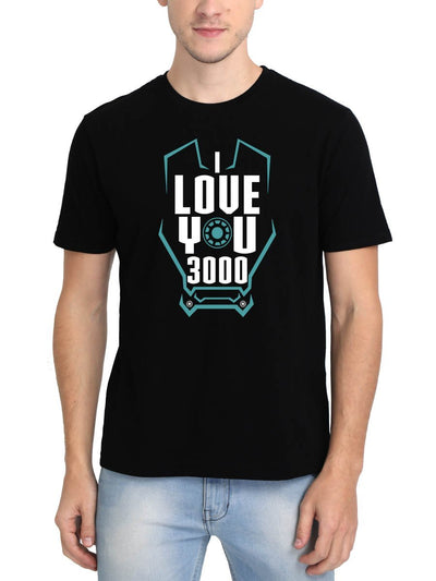 I Love You 3000 Men's Black Round Neck T-Shirt - Crazy Punch