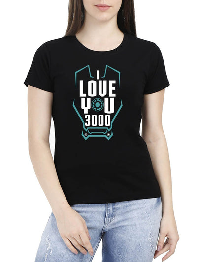 I Love You 3000 Women's Black Round Neck T-Shirt - Crazy Punch