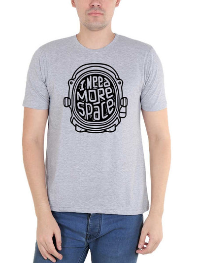 I Need More Space Men's Grey Melange Round Neck T-Shirt - Crazy Punch