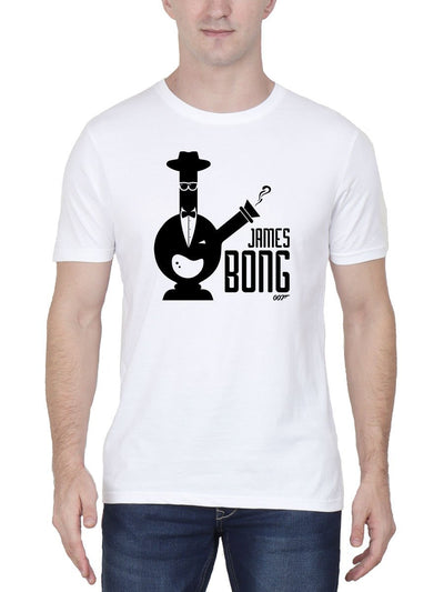 James Bong 007 Stoner Men's White Round Neck T-Shirt - Crazy Punch