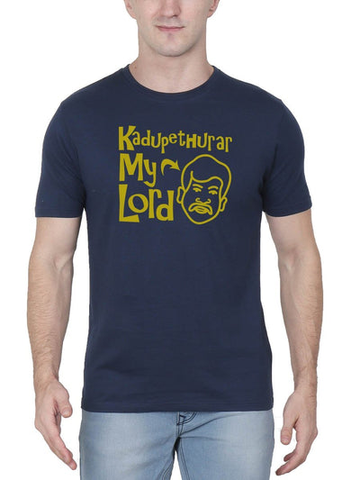 Kadupethurar My Lord Men's Navy Blue Half Sleeve Tamil Movie Round Neck T-Shirt - Crazy Punch