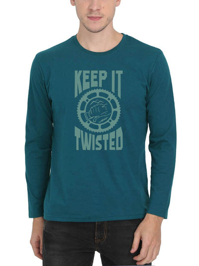 Keep It Twisted Bike Men's Petrol Full Sleeve Round Neck T-Shirt - Crazy Punch