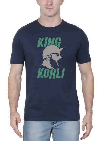 King Kohli Men's Navy Blue Half Sleeve Round Neck T-Shirt - Crazy Punch