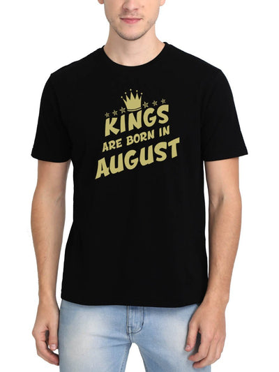 Kings Are Born In August Crown Men's Black Half Sleeve Birthday Month Gifting Round Neck T-Shirt - Crazy Punch
