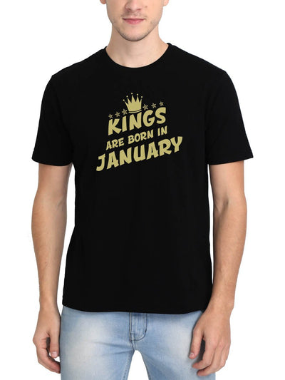Kings Are Born In January Crown Men's Black Half Sleeve Birthday Month Gifting Round Neck T-Shirt - Crazy Punch