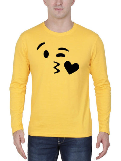 Kissing Emoji Men's Yellow Full Sleeve Round Neck T-Shirt - Crazy Punch