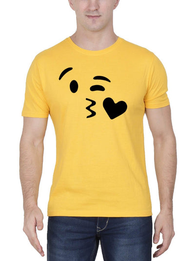 Kissing Emoji Men's Yellow Half Sleeve Round Neck T-Shirt - Crazy Punch
