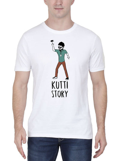 Kutti Story Thalapathy Vijay Master Men's White Tamil Movie Song Round Neck T-Shirt - Crazy Punch